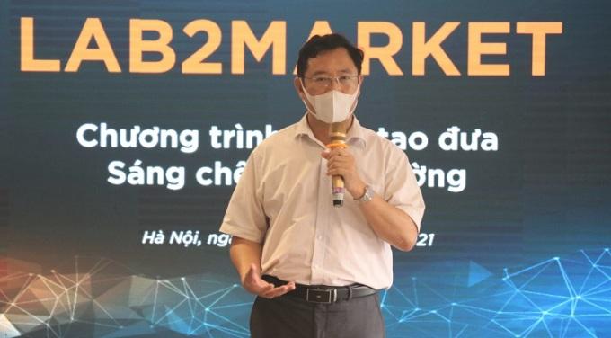 Ông Phạm Hồng Quất, Cục trưởng Cục Phát triển Thị trường và Doanh nghiệp khoa học và công nghệ phát biểu tại sự kiện. Ảnh: NX.