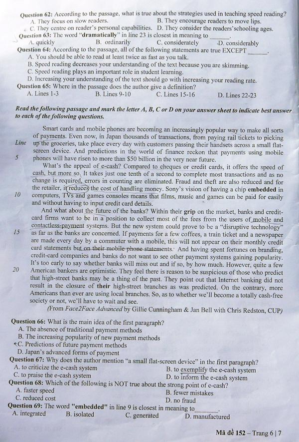Đề thi và đáp án môn tiếng Anh Đại học Quốc gia Hà Nội