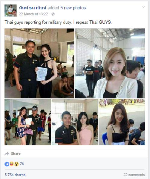 <p> Hôm 22/3, một người có tên Nant Thananan chia sẻ loạt ảnh những chàng trai chuyển giới người Thái Lan đi xét tuyển nghĩa vụ quân sự trên Facebook cá nhân.</p>