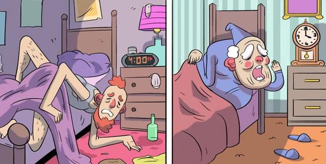 """<p class=""""Normal"""" dir=""""ltr""""> Sinh viên và người già đều đi ngủ vào giờ bất thường.</p>"""