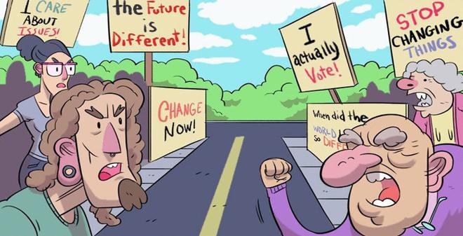"""<p class=""""Normal"""" dir=""""ltr""""> Cả hai thế hệ đều không ngừng nói về chính trị và bảo vệ quan điểm của mình.</p>"""