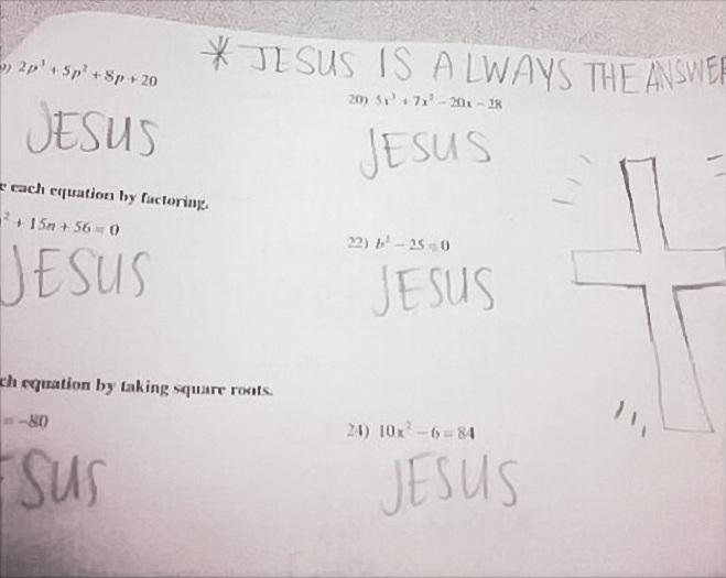 """<p class=""""Normal""""> Với học sinh này, Chúa Jesus luôn là câu trả lời đúng cho mọi câu hỏi.</p>"""