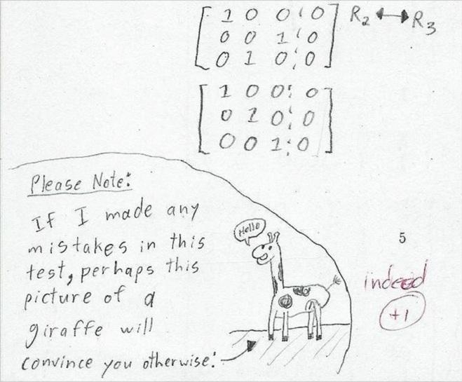 """<p class=""""Normal""""> Nộp bài kiểm tra với lời nhắn tới cô giáo """"Nếu em có một vài lỗi sai trong bài kiểm tra này, có lẽ bức tranh con hươu cao cổ sẽ thuyết phục cô"""" đã giúp học sinh được cộng thêm 1 điểm.</p>"""