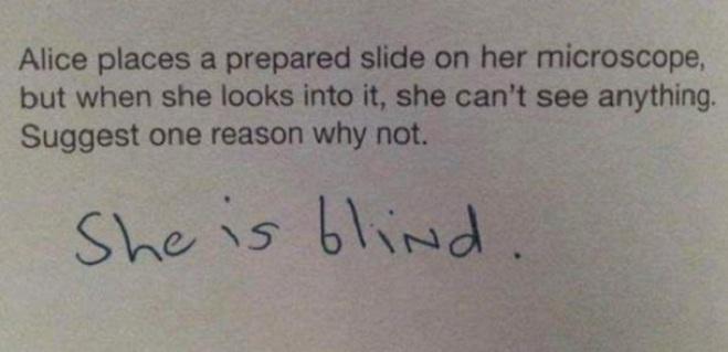 """<p class=""""Normal""""> Khi được yêu cầu giải thích vì sao Alice không nhìn thấy gì khi nhìn vào kính hiển vi, học sinh lém lỉnh trả lời """"Vì Alice bị mù"""".</p>"""