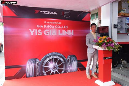 Ông Yasunori Takeuchi - Tổng Giám đốc Công ty TNHH Yokohama Tyre Việt Nam phát biểu tại lễ khai trương YIS Gia Linh.