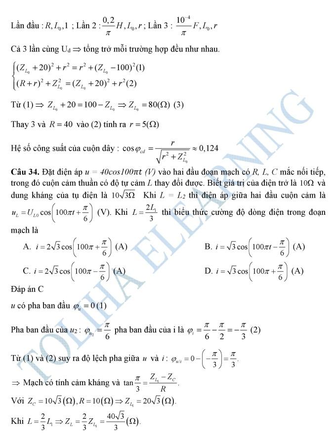 Lời giải chi tiết môn Vật lý thi THPT quốc gia 2019