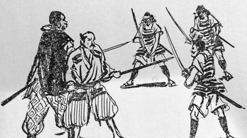 Hình vẽ minh họa Yasuke (ngoài cùng bên trái) chiến đấu cùng lãnh chúa Nobunaga trong cuốn Kuro-suke. Ảnh:Iwasaki Shoten.