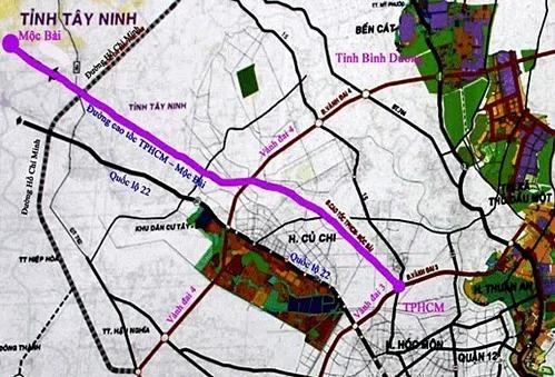 Sơ đồ hướng tuyến cao tốc TP HCM - Mộc Bài. Ảnh: Tổng cục đường bộ Việt Nam.
