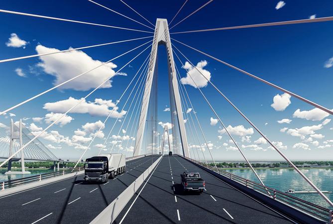 Cầu có 6 làn xe, tốc độ thiết kế 80km/h. Ảnh: Bộ GTVT.