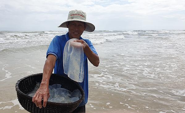 Ông Phạm Nga rửa sứa đem bán giá 10.000 đồng đến 15.000 đồng mỗi kg. Ảnh: Đắc Thành.