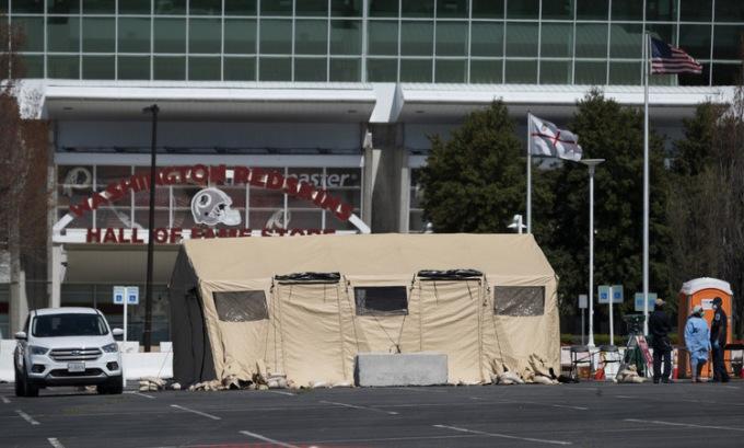 Trạm xét nghiệm nhanh do quân đội thiết lập ở bang Maryland hôm 30/3. Ảnh: AFP.