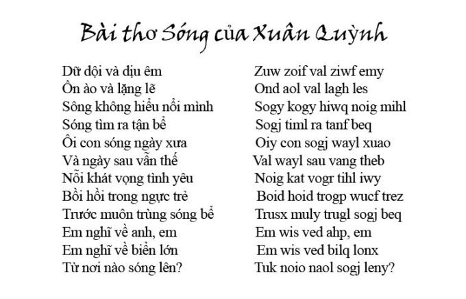Bài thơ Sóng của Xuân Quỳnh được viết theo Chữ Việt Nam song song 4.0. Ảnh: Bách Hợp.