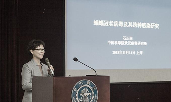 Bà Thạch Chính Lệ phát biểu tại một hội nghị ở Trung Quốc, hồi tháng 11/2018. Ảnh: GNews.