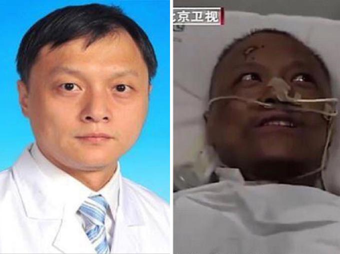 Bác sĩ Yi trước và sau khi nhiễm nCoV. Ảnh: Wuhan Central Hospital, Beịing Satellite TV