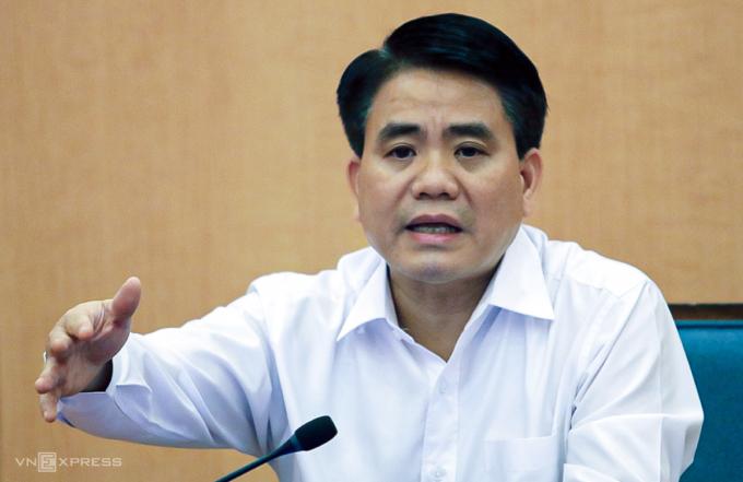 Ông Nguyễn Đức Chung tại một cuộc họp Ban chỉ đạo chống Covid-19 TP Hà Nội. Ảnh: Võ Hải.