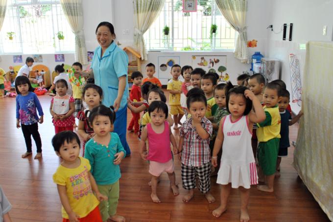 Một lớp học tại trường Mầm non 14, quận Tân Bình (TP HCM). Ảnh: Mạnh Tùng.