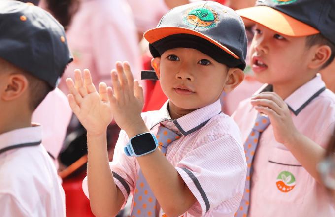 Học sinh lớp 1 tại trường Ngôi sao tham dự lễ khai giảng năm học 2019-2020. Ảnh: Ngọc Thành.
