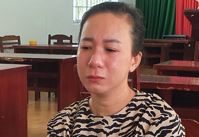 Trần Thị Oanh tại cơ quan công an. Ảnh: Lan Vy