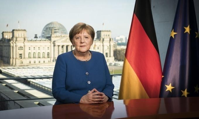 Thủ tướng Đức Angela Merkel phát biểu trên sóng truyền hình quốc gia tối 18/3 về Covid-19. Ảnh: Cabinet of Germany.