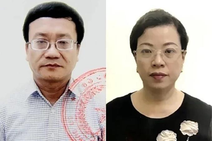 Bị can Nguyễn Quang Vinh và Diệp Thị Hồng Liên. Ảnh:Bộ Công an.