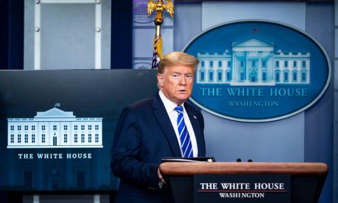 Tổng thống Mỹ Donald Trump trong cuộc họp báo tại Nhà Trắng ở thủ đô Washington. Ảnh: NYTimes.