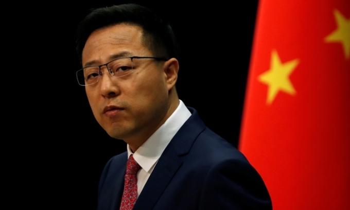 Triệu Lập Kiên tại cuộc họp báo ở Bắc Kinh hồi tháng 4. Ảnh: Reuters.