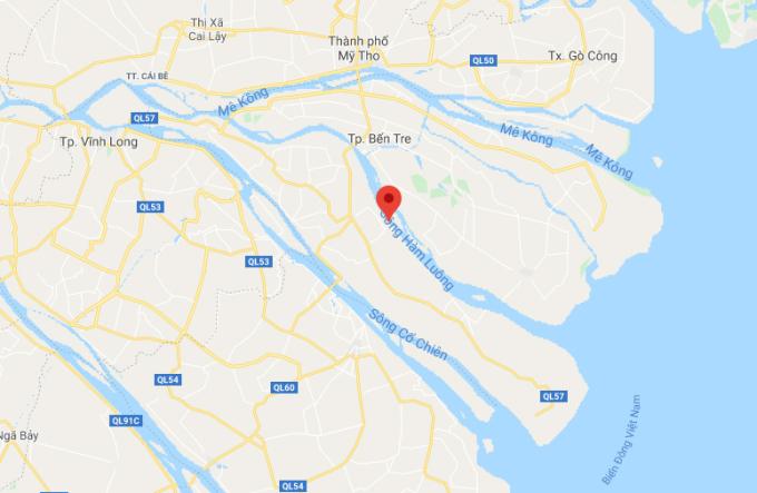 Sông Hàm Luông kéo dài từ cửa biển đến tỉnh Tiền Giang. Ảnh: Google Maps.