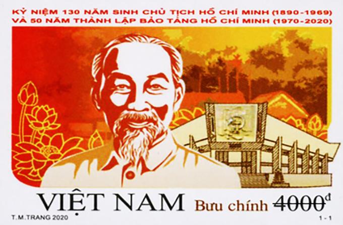 Bộ tem kỷ niệm 130 năm sinh nhật Chủ tịch Hồ Chí Minh và 50 năm thành lập Bảo tàng Hồ Chí Minh.