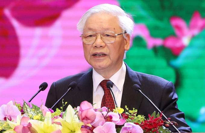 Tổng bí thư, Chủ tịch nước Nguyễn Phú Trọng phát biểu tại lễ kỷ niệm. Ảnh: VGP