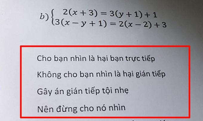 Học sinh sợ tím mặt bởi lời cảnh cáo trong bài kiểm tra