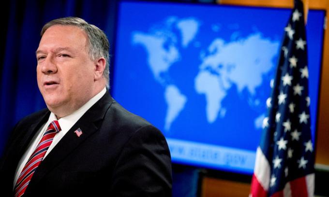 Ngoại trưởng Mỹ Mike Pompeo tại cuộc họp báo ở Bộ Ngoại giao hôm 29/4. Ảnh: Reuters.