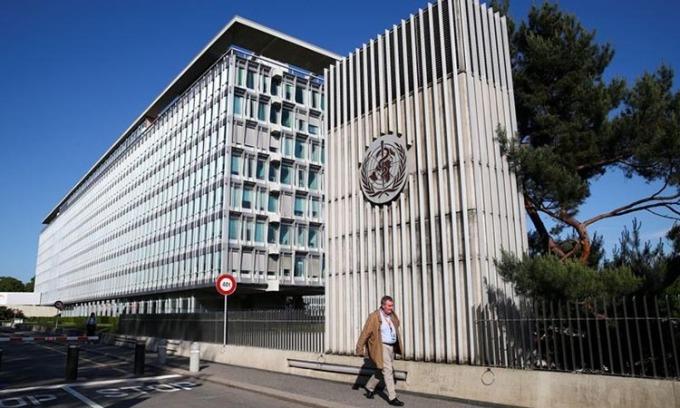 Trụ sở WHO tại Geneva, Thụy Sĩ hôm 18/5. Ảnh: Reuters.