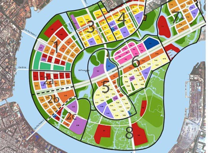 Khu chức năng số 3 nằm đối diện với quận 1 bên kia sông Sài Gòn (giữa cầu Thủ Thiêm 1 và 2). Ảnh: BQL Thủ Thiêm