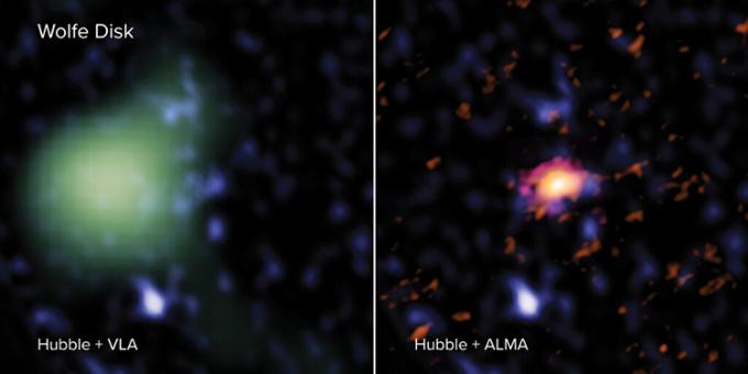 Ảnh chụp thiên hàWolfe Disk từ bộ ba kính viễn vọng ALMA, Hubble và VLA. Ảnh: Phys.
