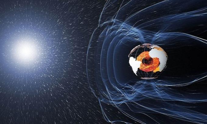 Từ trường bảo vệ Trái Đất trước bức xạ Mặt Trời. Ảnh: Sun.