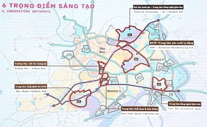 Sáu khu chức năng chính của Khu đô thị sáng tạo phía Đông TP HCM. Ảnh:Trung Sơn.