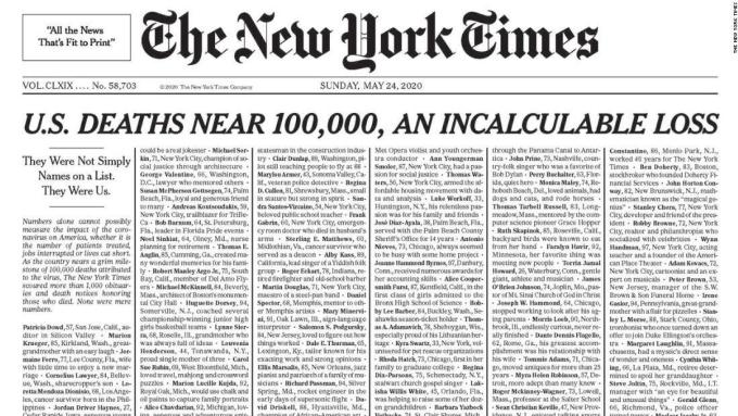 Tên của những người chết vì Covid-19 được đăng kín trang nhất của tờ New York Times hôm 24/5. Ảnh: New York Times.