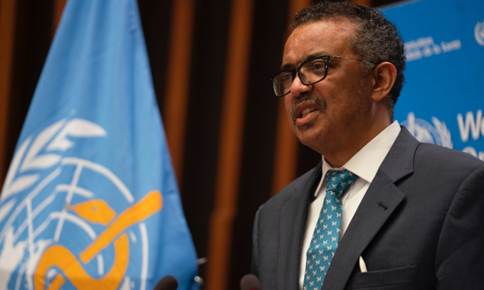 Tổng giám đốc WHO Tedros Adhanom Ghebryesus tạiĐại hội đồng Y tế Thế giới (WHA), hôm 18/5. Ảnh: WHO.