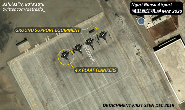 4 tiêm kích J-11 được Trung Quốc điều tới Ngari Gunsa hồi tháng 12/2019. Ảnh: Twitter/detresfa.