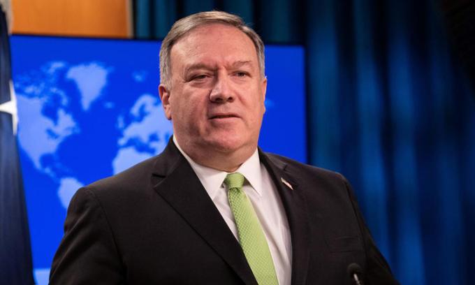 Ngoại trưởng Mỹ Mike Pompeo trong cuộc họp báo tại Washington hôm 20/5. Ảnh: Reuters.