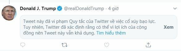 Thông điệp cảnh báo Twitter hiển thị trên bài đăng của Trump hôm nay. Ảnh chụp màn hình.