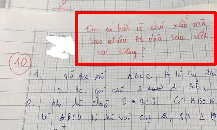 Bài kiểm tra điểm 10 vẫn bị cô giáo phê bình