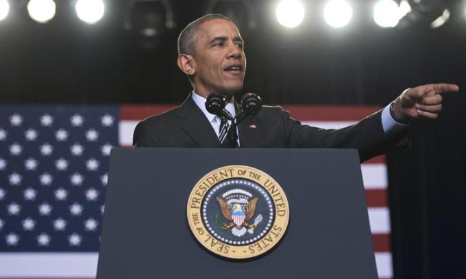 Tổng thống Barack Obama phát biểu về chính sách nhập cư tại Chicago, tháng 11/2014. Ảnh: AFP.