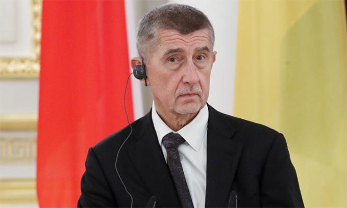 Thủ tướng Czech Andrej Babis trong cuộc họp báo tại Kiev, Ukraine, tháng 11/2019. Ảnh: Reuters.
