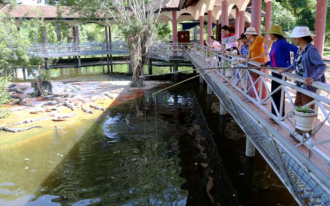 Gia đình anh Nguyễn Hồ Ngọc Tiến trải nghiệm mô hình câu cá sấu trên núi huyện Khánh Vĩnh. Ảnh: Xuân Ngọc.