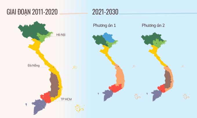 Hai phương án phân vùng giai đoạn 2021-2030. Đồ họa: Tiến Thành.