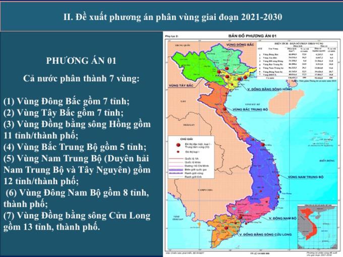 Phương án phân vùng theo hướng giữ nguyên đồng bằng sông Hồng và đồng bằng sông Cửu Long (phương án một). Ảnh: VGP