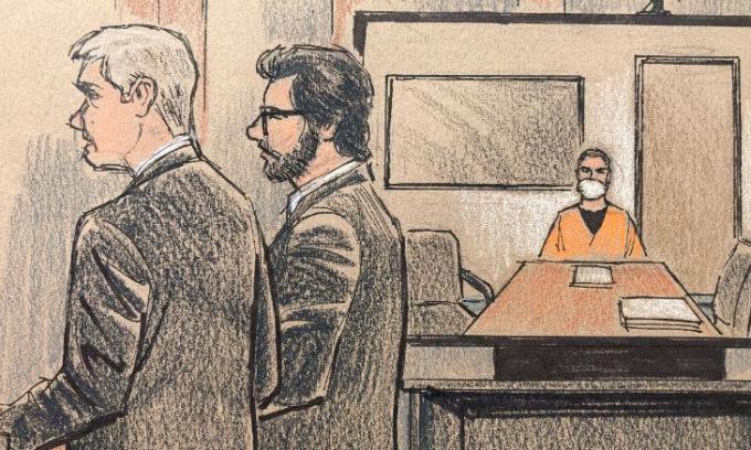 Hình vẽ phiên xử đầu tiên của Derek Chauvin hôm 8/6. Ảnh: CNN.