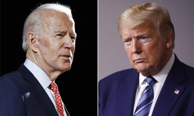 Tổng thống Trump (phải) tại Nhà Trắng hôm 5/4 và Biden, ứng viên tổng thống đảng Dân chủ, tại thành phốWilmington, bang Delaware hôm 12/3. Ảnh: AP.