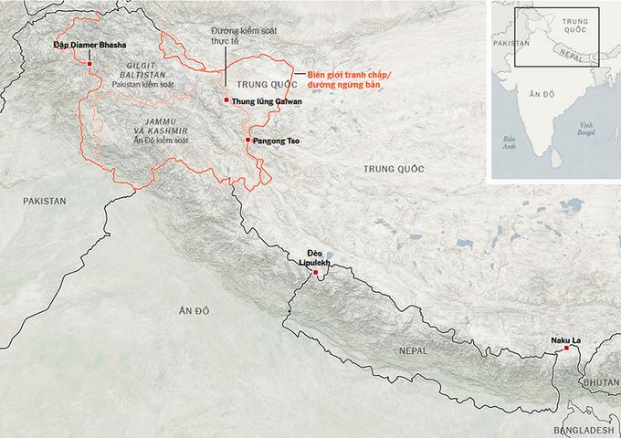 Khu vục biên giới tranh chấp giữa Trung Quốc và Ấn Độ. Đồ họa:NYT.